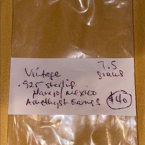 amethyst vintage sterling silver 7.5 EARRINGS